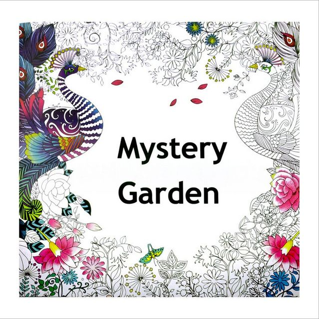 1 PCS Mystery Garden 24 Pages English Coloring Book For Children Adult Relieve Stress Kill Time