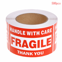 1 Roll/500pcs Fragile Warning Label Sticker Sticker Up and Handle With Care Keep Dry Shipping Express Label 76x127mm