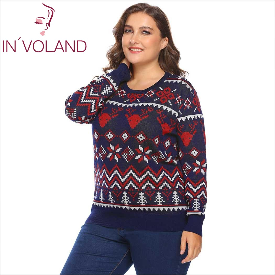INVOLAND Plus Size XL-5XL Women Sweater Tops Autumn O-Neck Long Sleeve Christmas Santa Geometric Casual Large Pullover Big Size