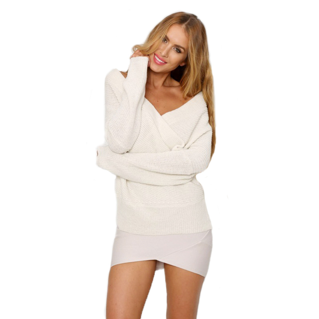 114410589173 Sexy Women Deep V Neck Off Shoulder Batwing Sleeve Pullovers Loose Cross  Wrap Front Solid Long Sleeve Sweatshirt KH822760