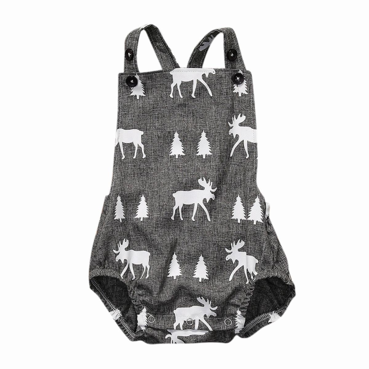 Newborn Infant Baby Boys Girls Flower Animal Print Clothes Play Suit Bodysuit Jumpsuit Outfit Sun Suit