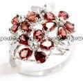 Гранат кольцо В Ювелирные Изделия Природные реального гранат стерлингового серебра 925 Красный цветок кольца Мелкие камни ювелирные изделия 0.25ct * 15 шт. драгоценные камни