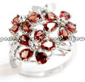 Garnet ring Per Jewelry Natural real garnet 925 sterling silver Red flower rings Fine gems jewelry 0.25ct*15pcs gems