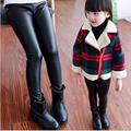 Menina Legging Moda de Corpo Inteiro Leggings Faux PU Além de veludo Calças De Couro Calças Leggings Menina Crianças
