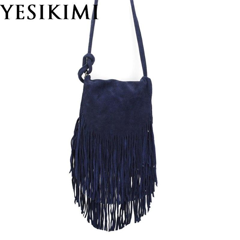 YESIKIMI Genuine Leather Bags For Women Vintage Suede Tassel Shoulder Bag Retro Feminine Small Saddle Bolsos Nubuck Leather