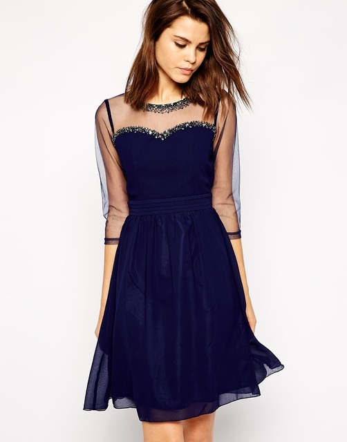 Vestidos de gala cortos azules