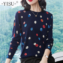 YISU 2018 autumn Women O neck Sweater Casual Candy button Printed Knit Jumpers Harajuku Sweater Pull Femme winter Warm Sweaters(China)