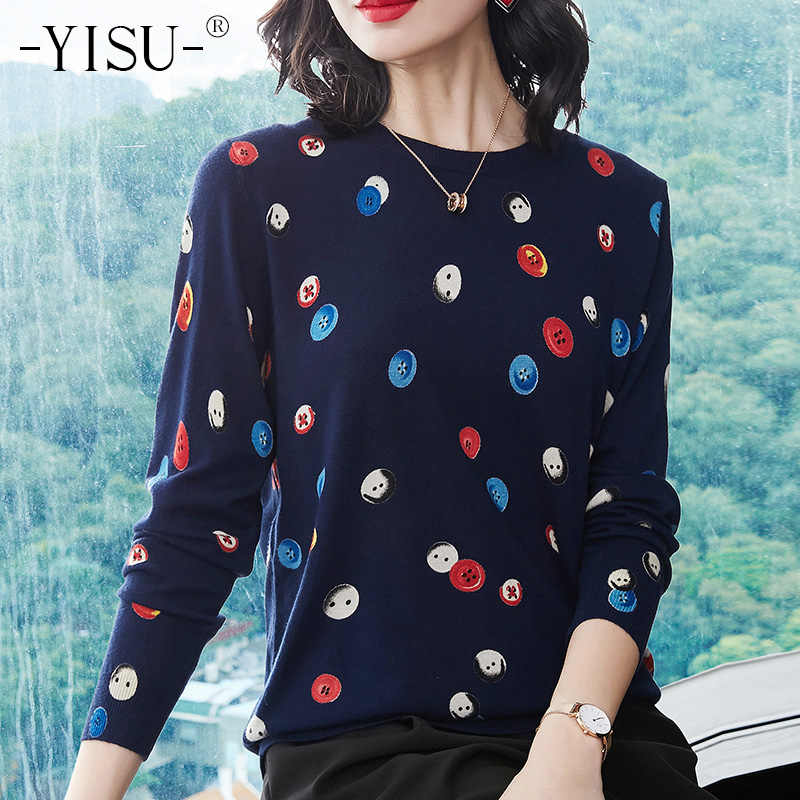 YISU 2018 autumn Women O neck Sweater Casual Candy button Printed Knit Jumpers Harajuku Sweater Pull Femme winter Warm Sweaters
