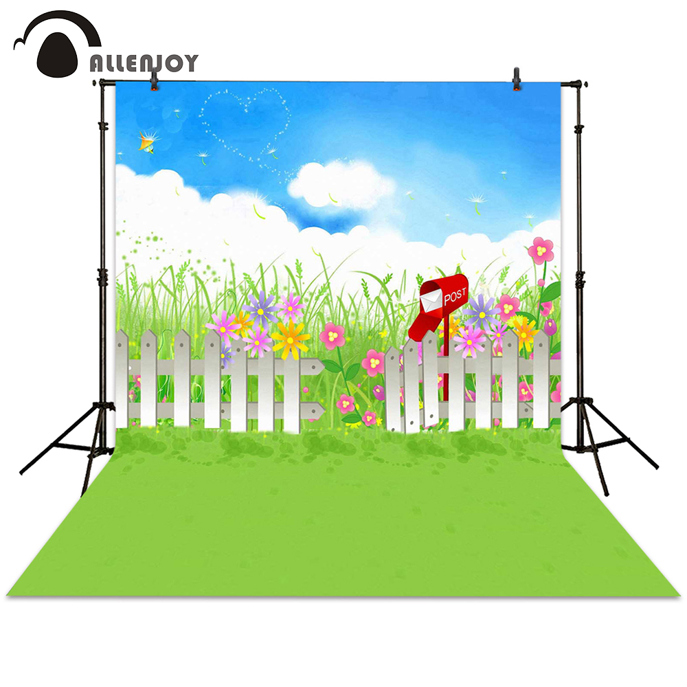 Allenjoy photography backdrop spring cartoon fence flower mailbox grass background photocall photographic photo studio