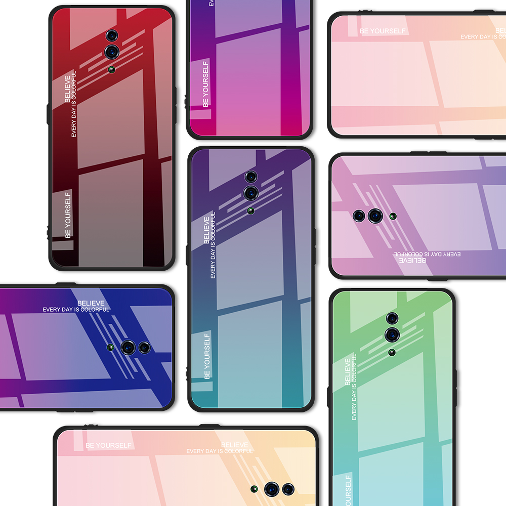 Luxury Gradient Color Glass Phone Case For Oppo R17 Pro R15X R19 F11 Find X Reno 10x zoom Realme 3 K1 K3 Colorful Cover coque in Fitted Cases from Cellphones Telecommunications