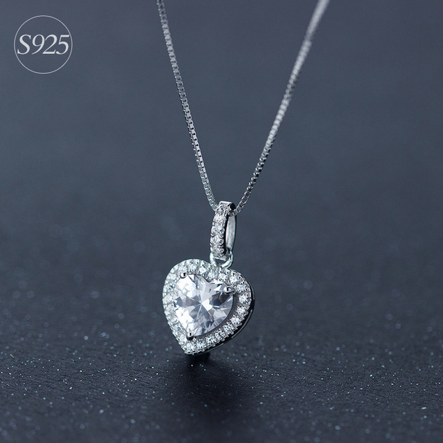100% Real Pure 925 Sterling Silver Jewelry CZ Crystal Heart Pendant Necklace Full AAA Zircon Heart Charm Chain Necklace Jewelry