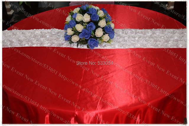132 Round Red Color No 21 Satin Tablecloth Table Cover