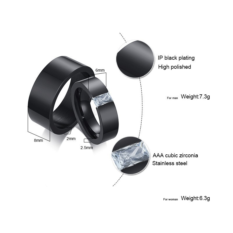 Vnox Stylish Wedding Bands for Couples Black Stainless Steel Rings for Women Men Boy Girl Party Accessories 2