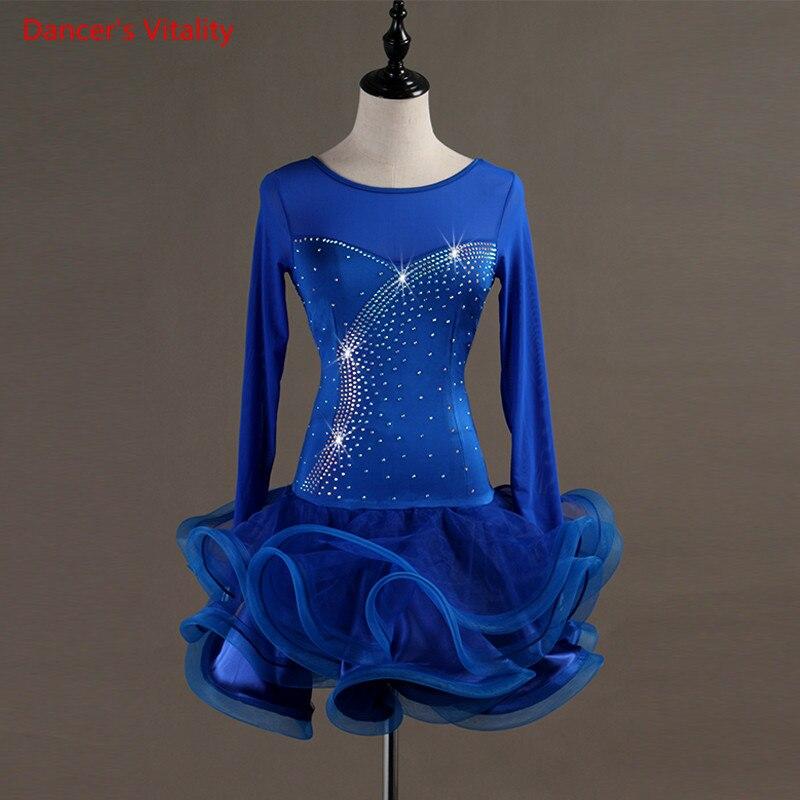 2018 New Custom Made Latin/Women/girls Dance Dress Rumba Skirt Ballroom Stage Costumes Long Sleeve Rhinestone Dance Dress