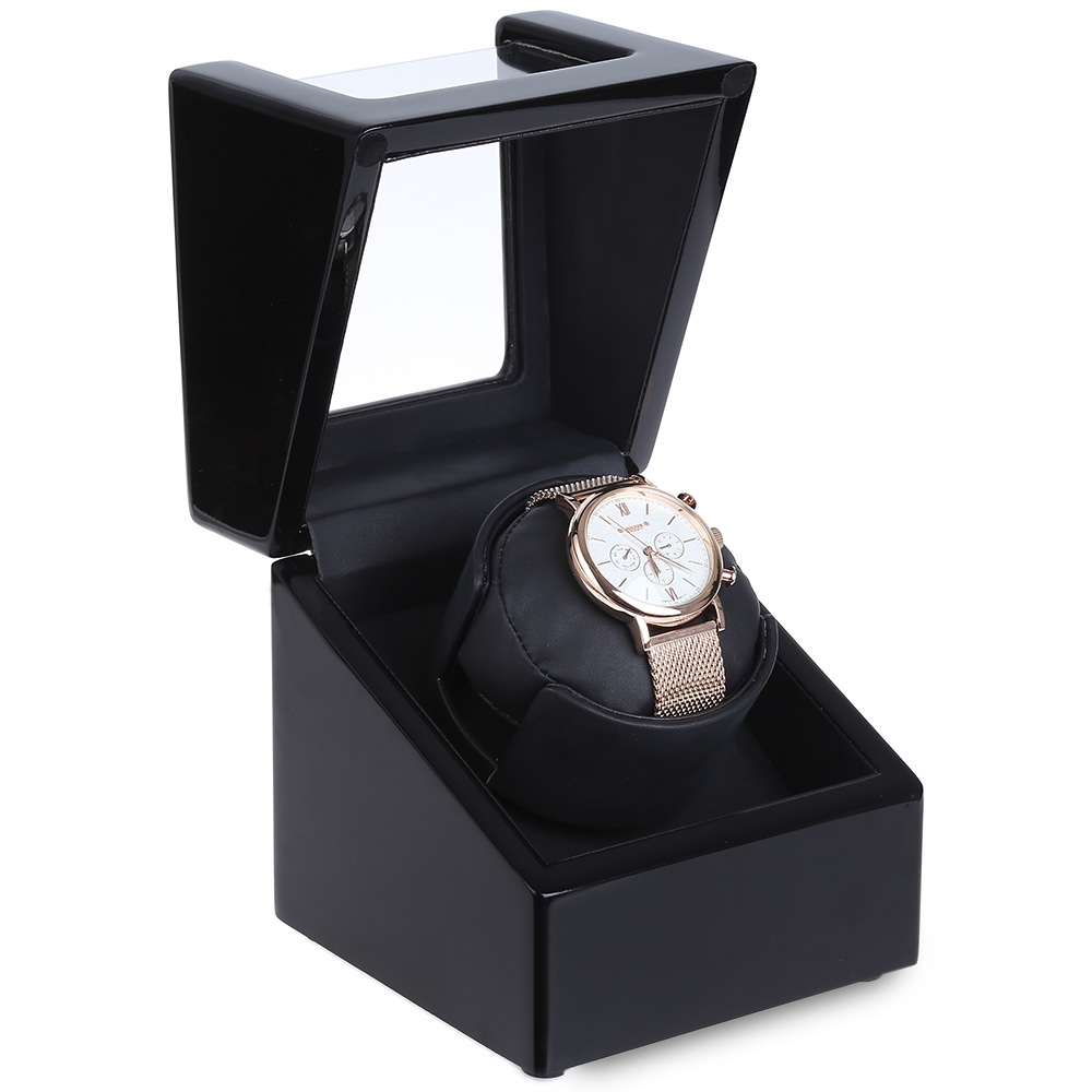 Bright Black Automatic Rotation Wooden Watch Winder Display Box Transparent Cover Jewelry Storage Organizer with EU Plug watch winder lt wooden automatic rotation 2 0 watch winder storage case display box outside is rose red and inside is white
