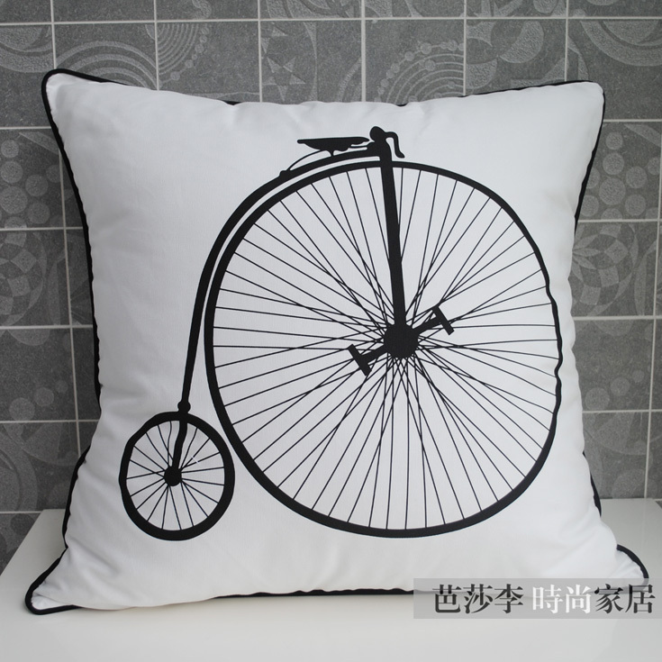 Free Shipping Large Size Black and White Decorative Cushion Cover Big Cotton Throw Pillow Cover ...