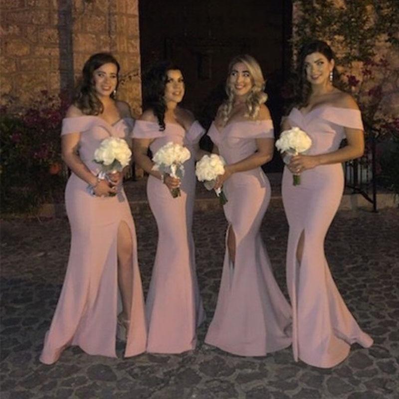 Elegant Mermaid Satin Vestido De Festa Longo Off The Shoulder Pink Bridesmaid Dresses Split Full Length