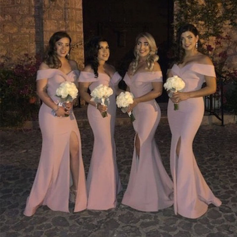 Elegant Mermaid Satin Vestido De Festa Longo Off The Shoulder Pink   Bridesmaid     Dresses   Split Full Length Wedding Party   Dresses