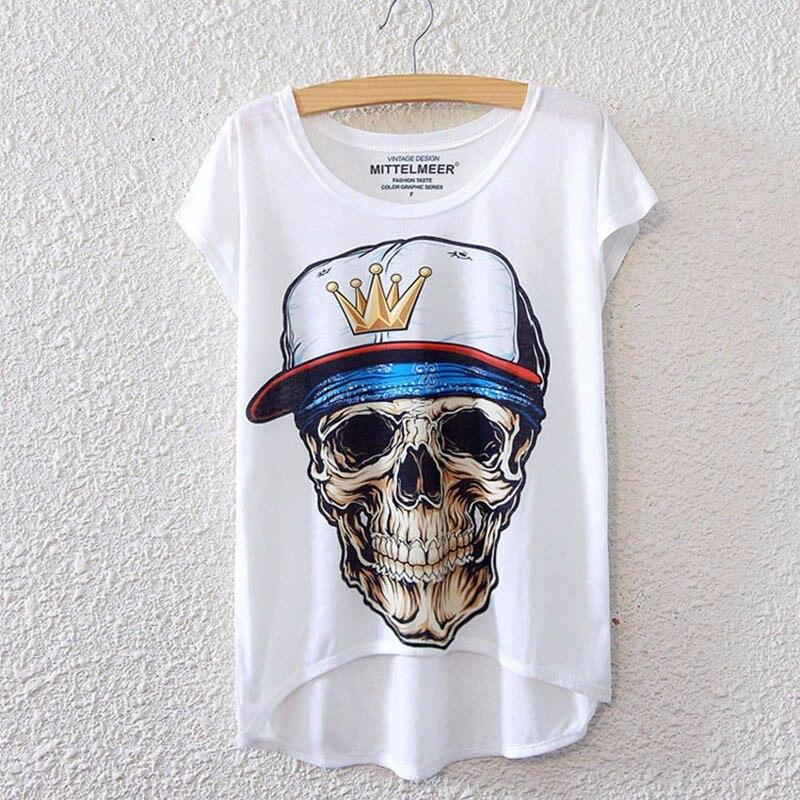 2017 Brand New Polyester T-Shirt Women Short Sleeve t-shirts o-neck Causal loose Skull T Shirt Summer tops for women