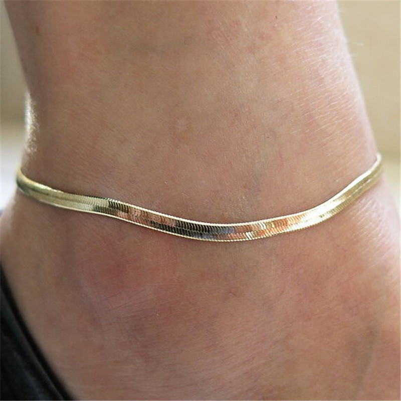 1 Stücke Großhandel Silber Gold Farben Strand Kette Fußkettchen Frauen Mädchen Knöchel-armband Fußkettchen Fuß Schmuck
