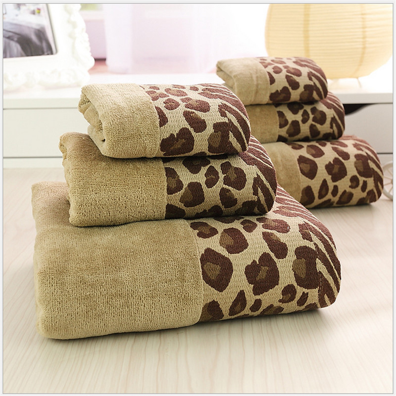 3pcs Decorative Leopard Cotton Hand Bath Towels Sets For Adults Printed Sexy Pattern Beach Terry