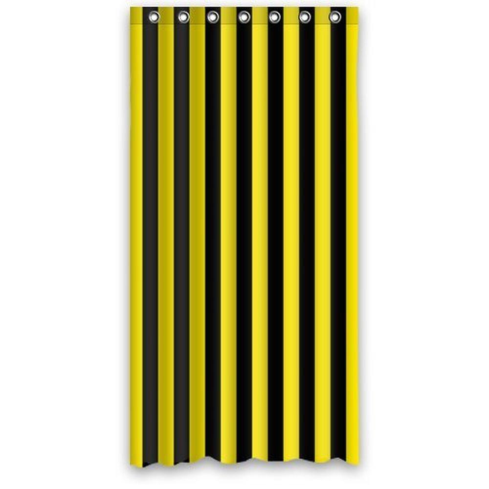 Yellow stripe shower curtain - 36w 72h Inch Black And Yellow Warning Sign Stripe Pattern Shower Curtain Waterproof Bath Curtain