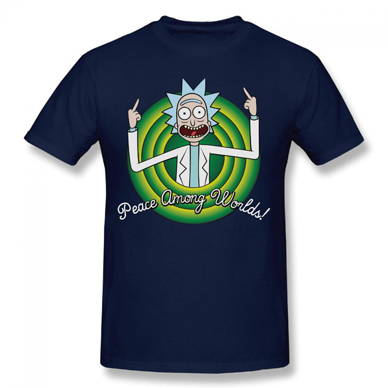 Casual men t shirt rick and morty peace among worlds brand for Best dress shirts in the world
