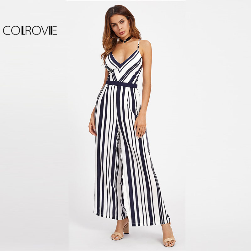 28027eb6dc COLROVIE V neck Backless Striped Jumpsuit Women Straps Sleeveless  Crisscross Tie Detail Sexy Jumpsuit 2018 Beach