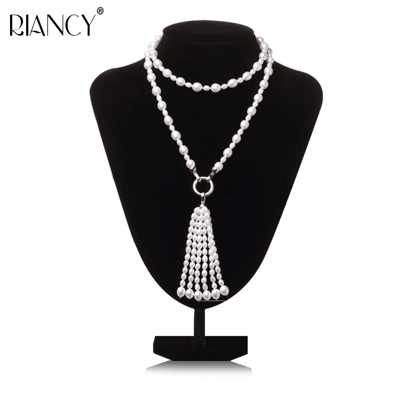 Fashion Long Multilayer Pearl Necklace Freshwater Tassel Mix Colour Jewelry For Women wedding