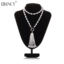 Fashion Long Multilayer Pearl Necklace Freshwater Pearl Tassel Mix Colour Pearl Necklace Jewelry For Women wedding