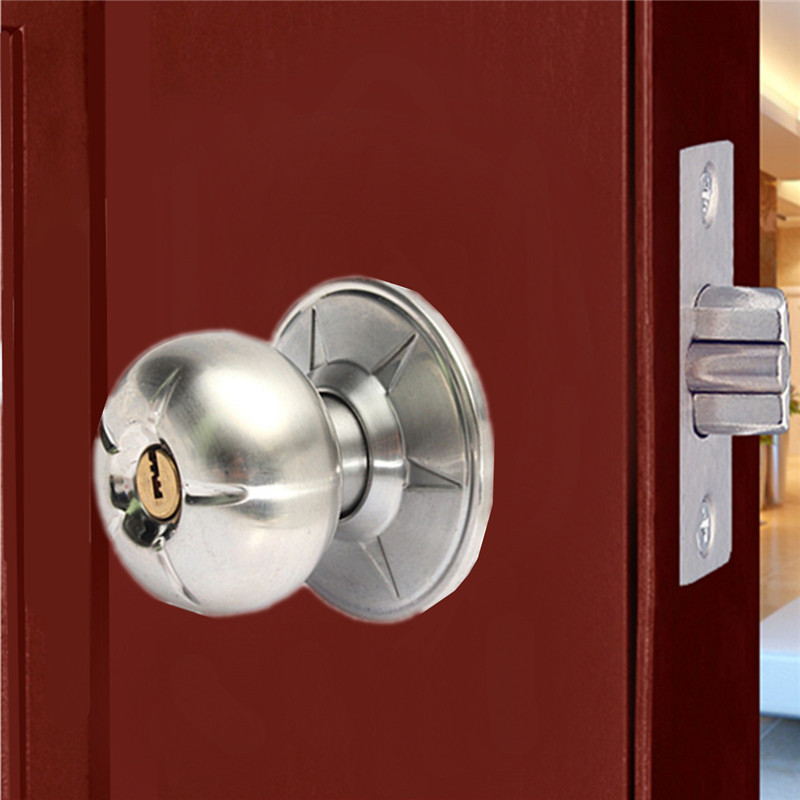 Round lever handle knob knobs door lock bedroom bathroom for Door handle with lock