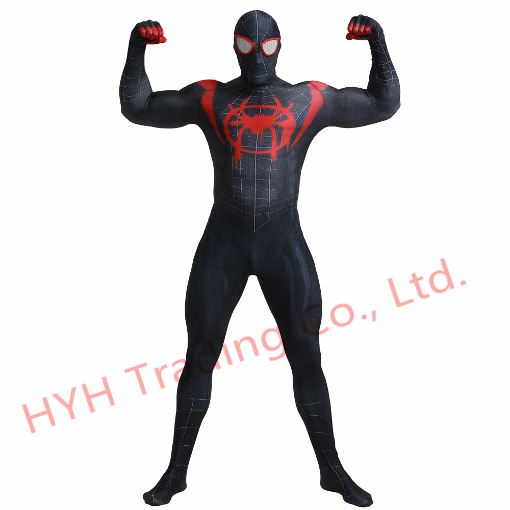 2019 Black Miles Morales 3D Print Spiderman Costume Adult Kids Boys Spider Man Cosplay Costume Superhero Zentai Spiderman Suit