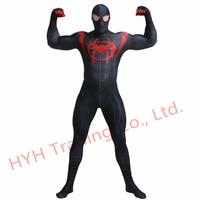 2019 Black Miles Morales 3D Print Spiderman Costume Adult Kids Boys Spider Man Cosplay Costume Superhero Zentai Spiderman Suit