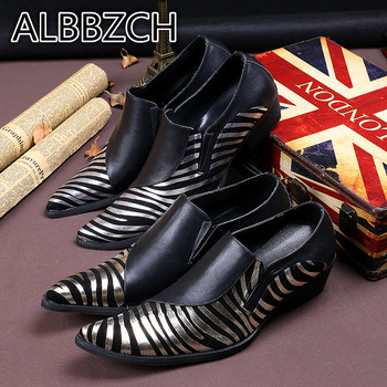 Pointed Toe High Heel Men Shoes Genuine leather Casual Party Shoes Men's Brand Designer club Bar Career Work Dancer Show Shoes