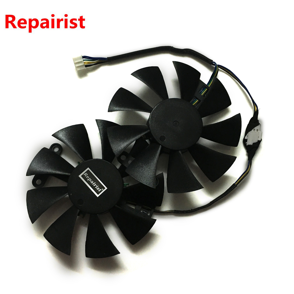 Repairist 2pcs/lot PowerColor Red Dragon RX480 RX580 RX470 GPU Graphics cooler VGA fan For RX 580/480/470 Video card cooling 2pcs lot computer radiator cooler fans rx470 video card cooling fan for msi rx570 rx 470 gaming 8g gpu graphics card cooling
