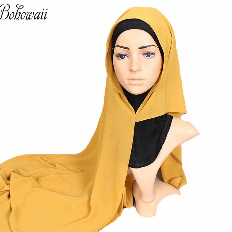 Image 5 - BOHOWAII Chiffon Head Scarf Instant Muslim Hijab Ready to Wear  Islamic Hijab Cap for Ladies UnderscarfIslamic Clothing   -