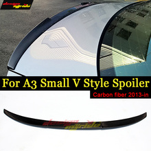 Fits For Audi A3 S3 Sedan Small V Style highkick Carbon fiber Rear trunk spoiler wing Coupe rear 13-in