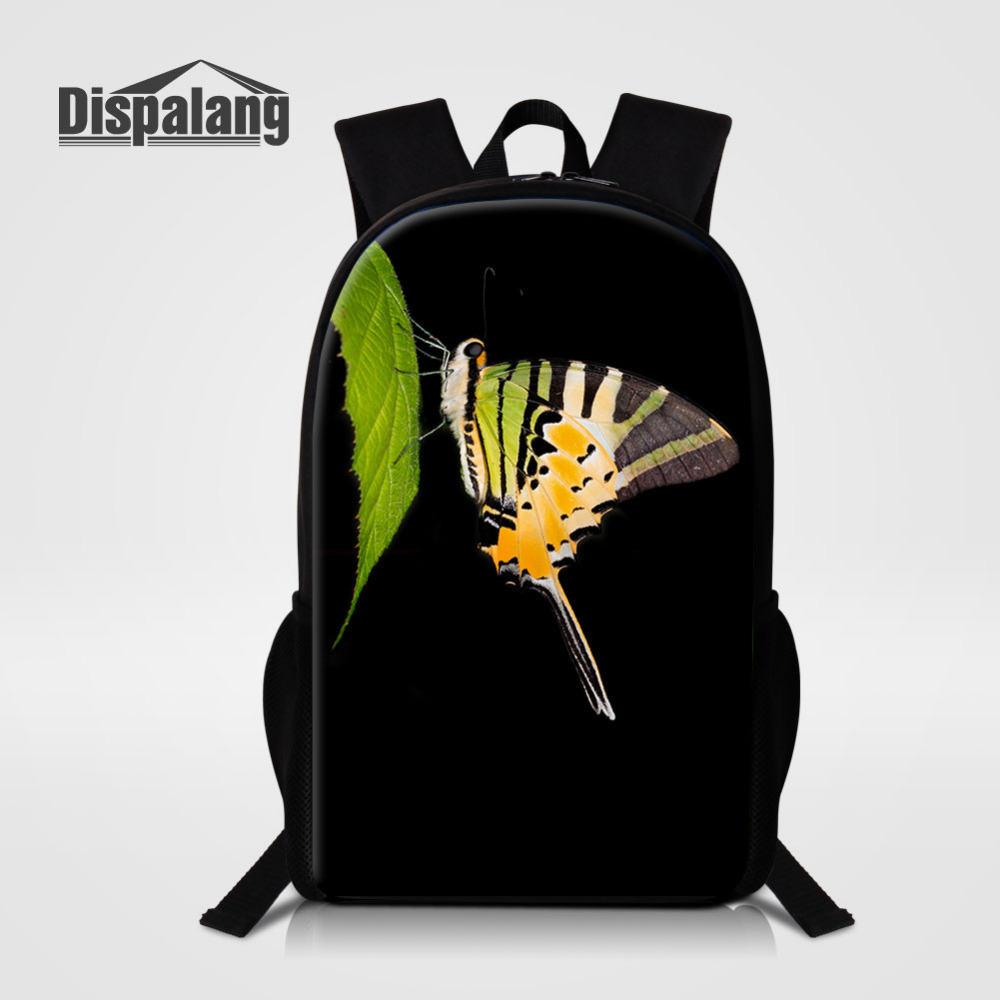 Dispalang Men Women Backpack Animal Butterfly Print School Bag for Teenagers College Travel Bag Kids Back Packs Bolsas Mochila
