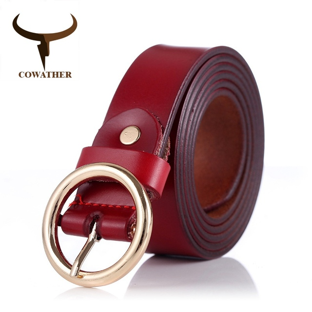 COWATHER women belts cow genuine leather good quality alloy pin buckle fashion style