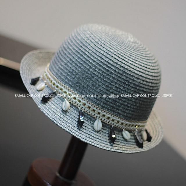 La novedad del verano mujeres de paja sombreros de cubo Chapeu Feminino sombreros de ala Sun Beach Caps Wth conchas SCCDS-032