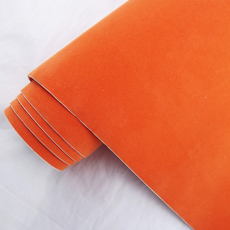 Hot sale 1.35x15m air release channel car velvet fabric film self adhesive vinyl film car wrapping