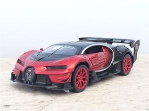 Image 2 - Coche electrónico Bugatti Veyron escala 1:32 de aleación fundida, juguete de modelo de coche, con luz de tracción trasera, juguetes para niños, regalo, envío gratis