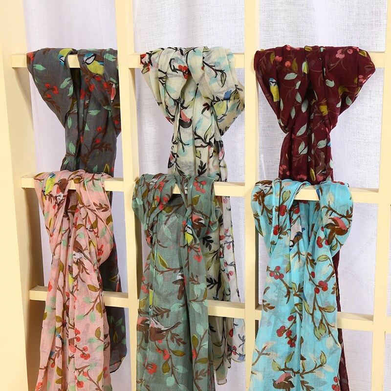 10Pcs/lot Lovely Animal Bird On Tree Viscose Shawl Scarf Women Kids Fashion Print Voile Foulard Sjaal Wrap Pashminas Hijab Snood