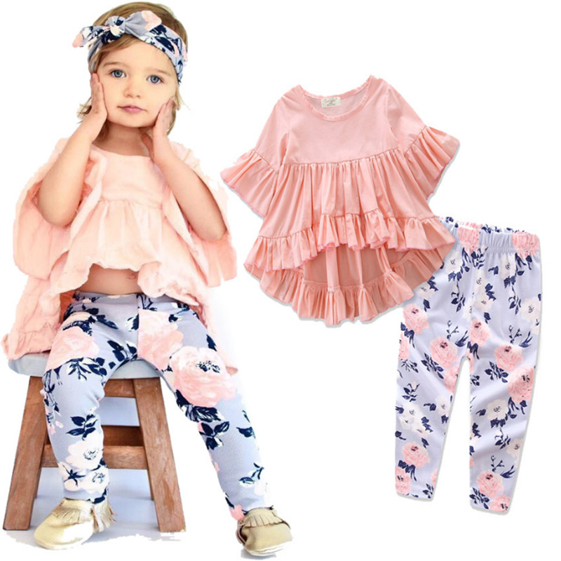 TZCZX-3020 New Children Newborn Baby Girls Solid Short sleeve+ Printed Pants Sets For 6 Month to 3 Years Old Kids Wear Clothes
