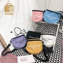 Piler Casual Letter Women Shoulder Bag Canvas Small Crossbody Bags for Girls Ladies Mini Messenger Bag Printing Party Handbag