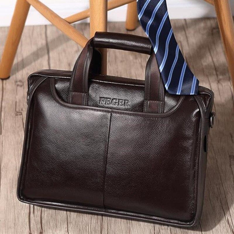 Nouveau mode véritable sac pour hommes en cuir de vache porte-documents Top marque Design sac d'affaires décontracté homme pochette d'ordinateur épaule Messenger sacs