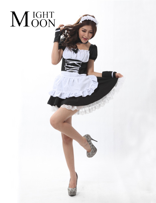 MOONIGHT Party Halloween Lolita Fancy Dress for Servant Women Adult Maid Uniform Cosplay French Maid Costumes