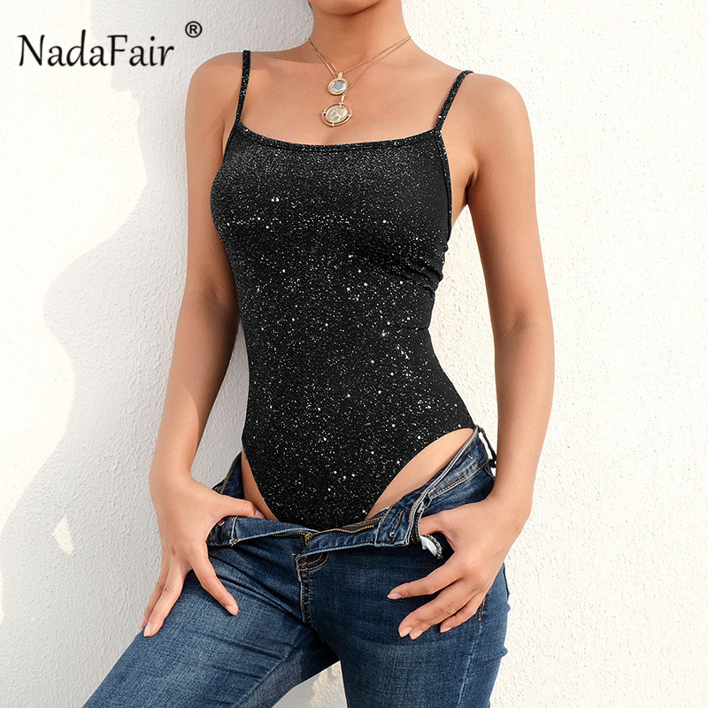Nadafair Sleeveless Lace Up Sexy Bodysuits Summer Strappy Backless Club Party Romper Women Lace Up Sequinded Body Female 2019