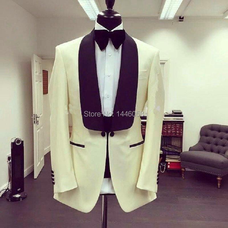 Custom Made Suits 2017 New Black Vest+Pants Ivory Wedding Blazer Suits For Men Wedding Tuxedos Groom Suit Best Man Bridegroom