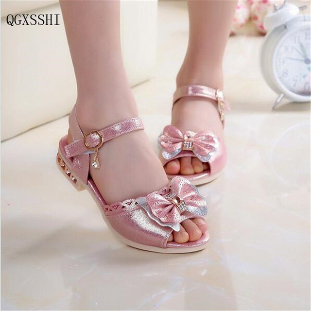 QGXSSHI Children Princess Sandals Kids Girls Wedding Shoes Flat Heel Dress Party For